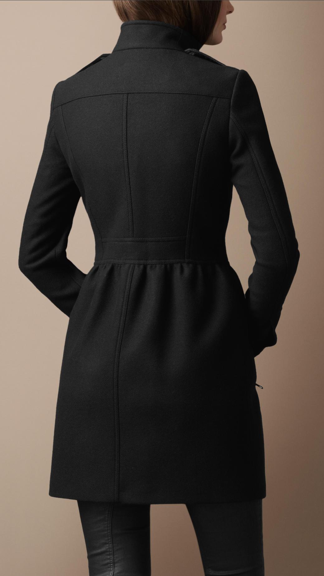 Burberry Brit Wool Twill Dress Coat In Black Lyst