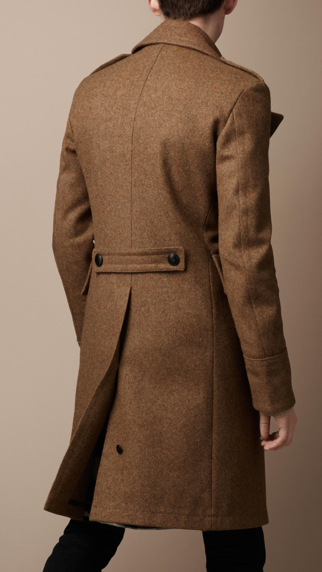 Lyst Burberry Brit Melton Military Great Coat In Brown