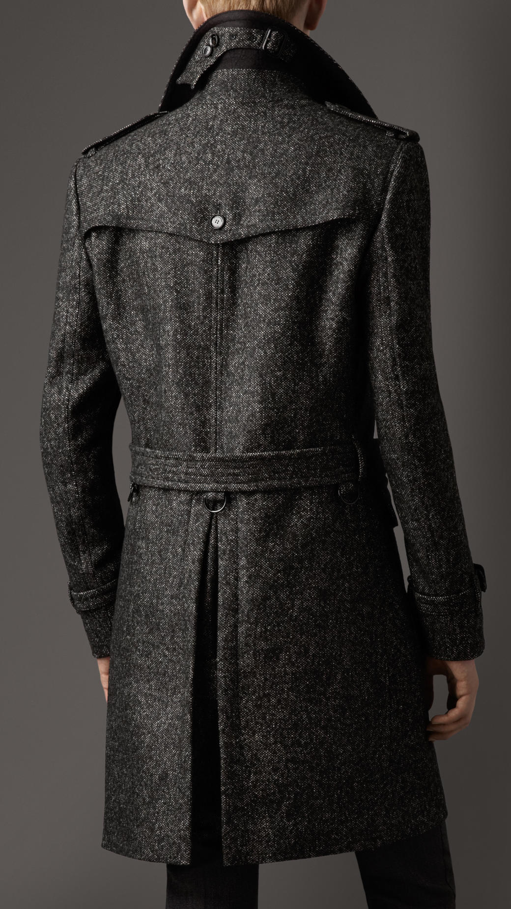 Burberry Wool Tweed Belted Coat in Gray for Men | Lyst