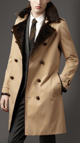 Burberry Long Fur Collar Cotton Trench Coat in Beige for Men (honey