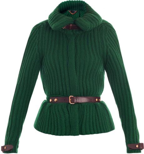 Burberry Prorsum Equestrian Cashmere Cardigan in Green (forest)
