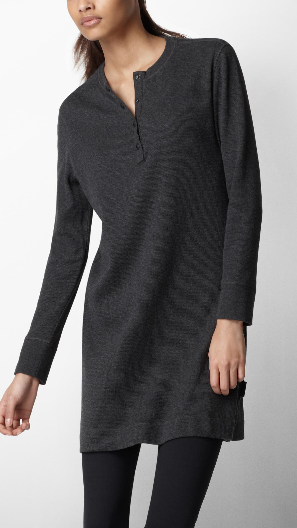Burberry Sport Cotton Jersey Henley Dress In Gray Lyst