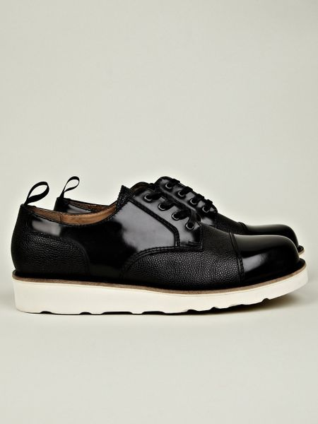carven leather mix shoe with vibram sole in black for