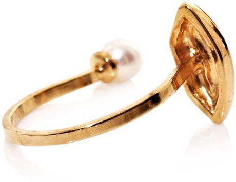 delfina delettrez pearl gold and enamel lip ring in white