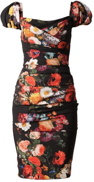 Dolce & Gabbana Floral Printed Ruched Silk Dress in Black (black multi) - Lyst