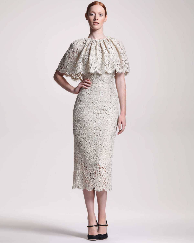 Dolce Amp Gabbana Lace Capelet Midi Dress In Gray Lyst