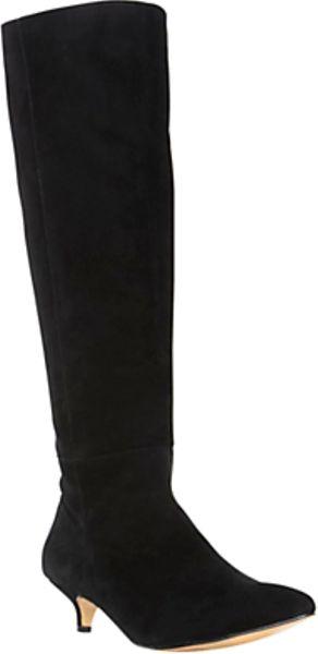 dune dune sabina suede kitten heel knee boots black in