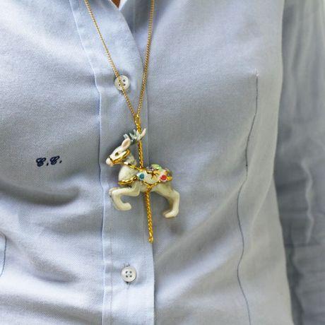 Porcelain Pendant Necklace Deer Porcelain Pendant