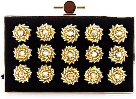 Jason Wu Black and Gold Daphne Box Clutch in Black