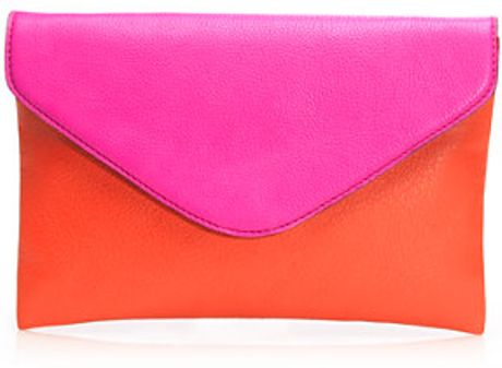 J.crew Invitation Clutch in Colorblock in Orange (orange fuchsia)