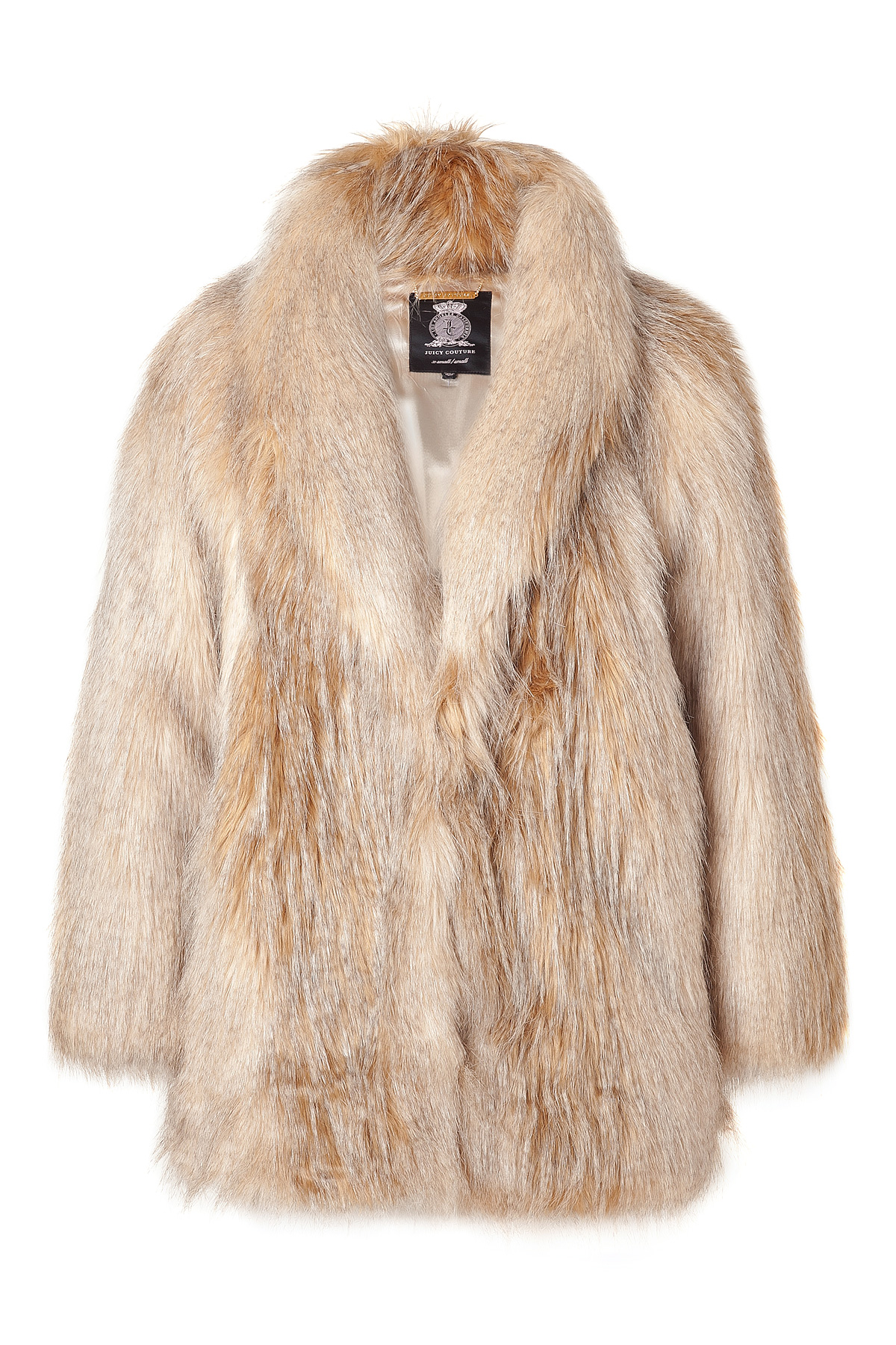 07f1ea29ee79 Juicy Couture Blonde Striped Faux Fur Jacket in Natural - Lyst