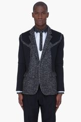 Juun.j Charcoal Neoprene Panel Blazer