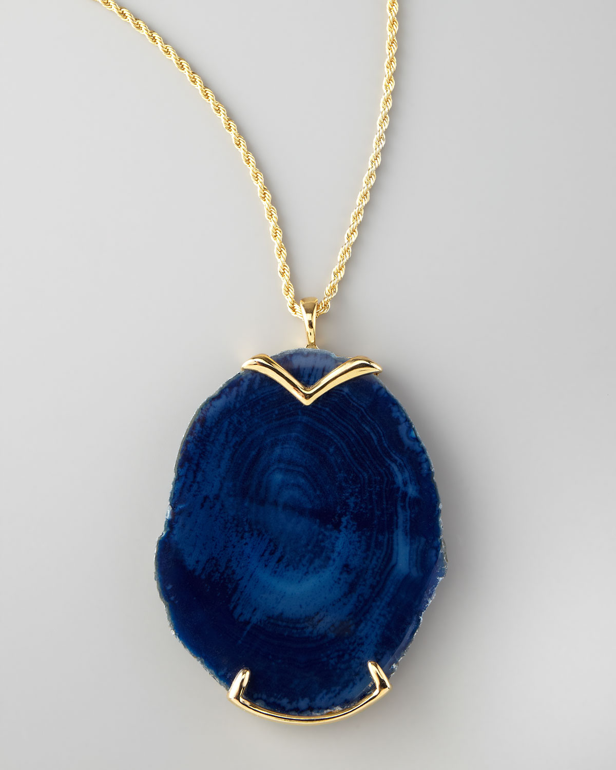 Lyst kenneth jay lane blue agate pendant necklace in blue gallery mozeypictures Choice Image