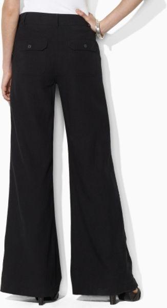 Lauren By Ralph Lauren Linen Wide Leg Sailor Pant In Black