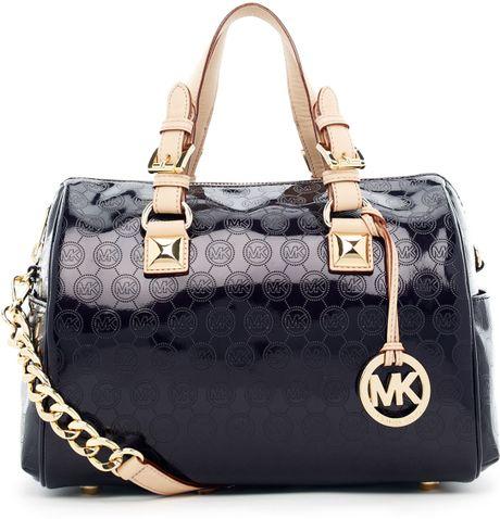 Buy Michael Kors Grayson Satchels - Bags Michael Kors Grayson Medium Monogram Satchel Black