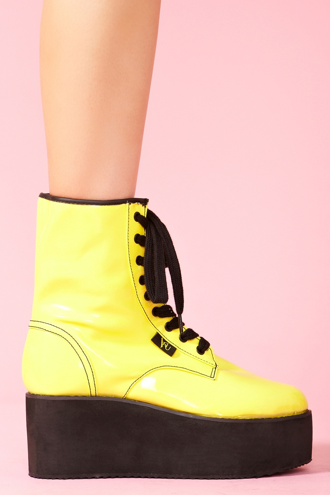 Womens High Top Military Combat Boots Yellow Fashion Shoes Nwt