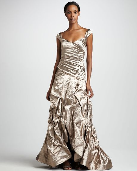 Nicole Miller Ruched Metallic Gown in Silver (mocha) - Lyst