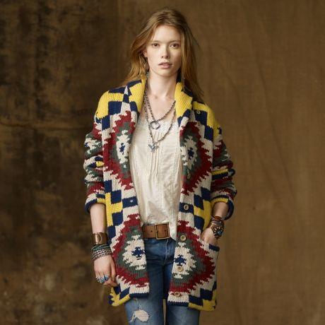 Multipattern shawl cardigan in multicolor aztec multi pattern lyst