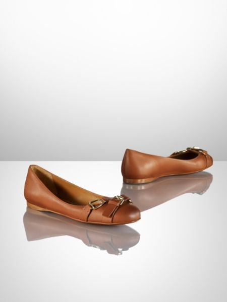 ralph lauren collection umina calf ballet flat in brown cuoio lyst. Black Bedroom Furniture Sets. Home Design Ideas