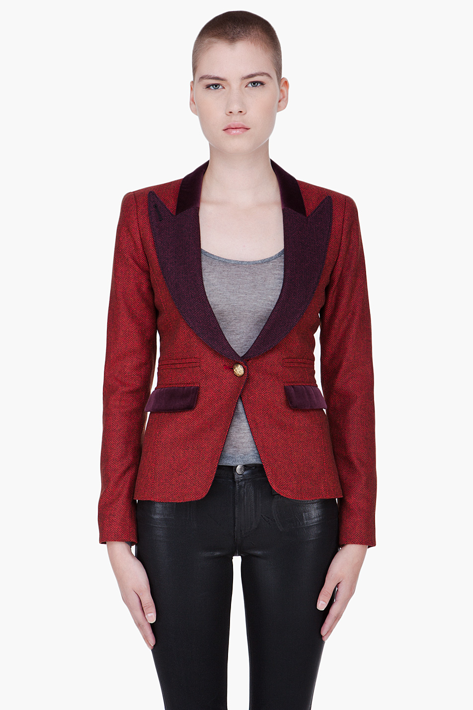 Smythe red peaked lapel blazer in red lyst for Smythe designer