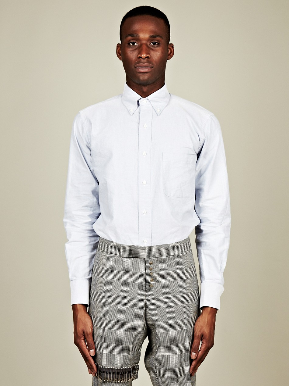 Thom browne mens classic button down shirt in blue for men for Preppy button down shirts