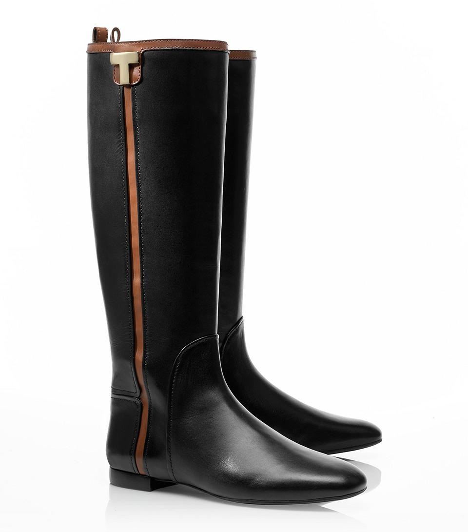 14215fe14a60 Lyst - Tory Burch Erica Flat Riding Boot in Black