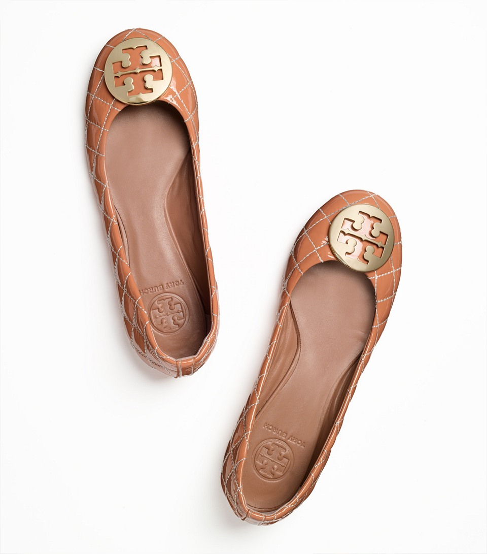 a1c372ac605a Lyst - Tory Burch Quinn Quilted Leather Ballet Flat in Brown
