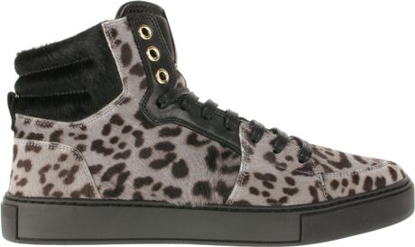 Saint Laurent Leopardprint Calfhair High Sneakers in Beige (leopard)