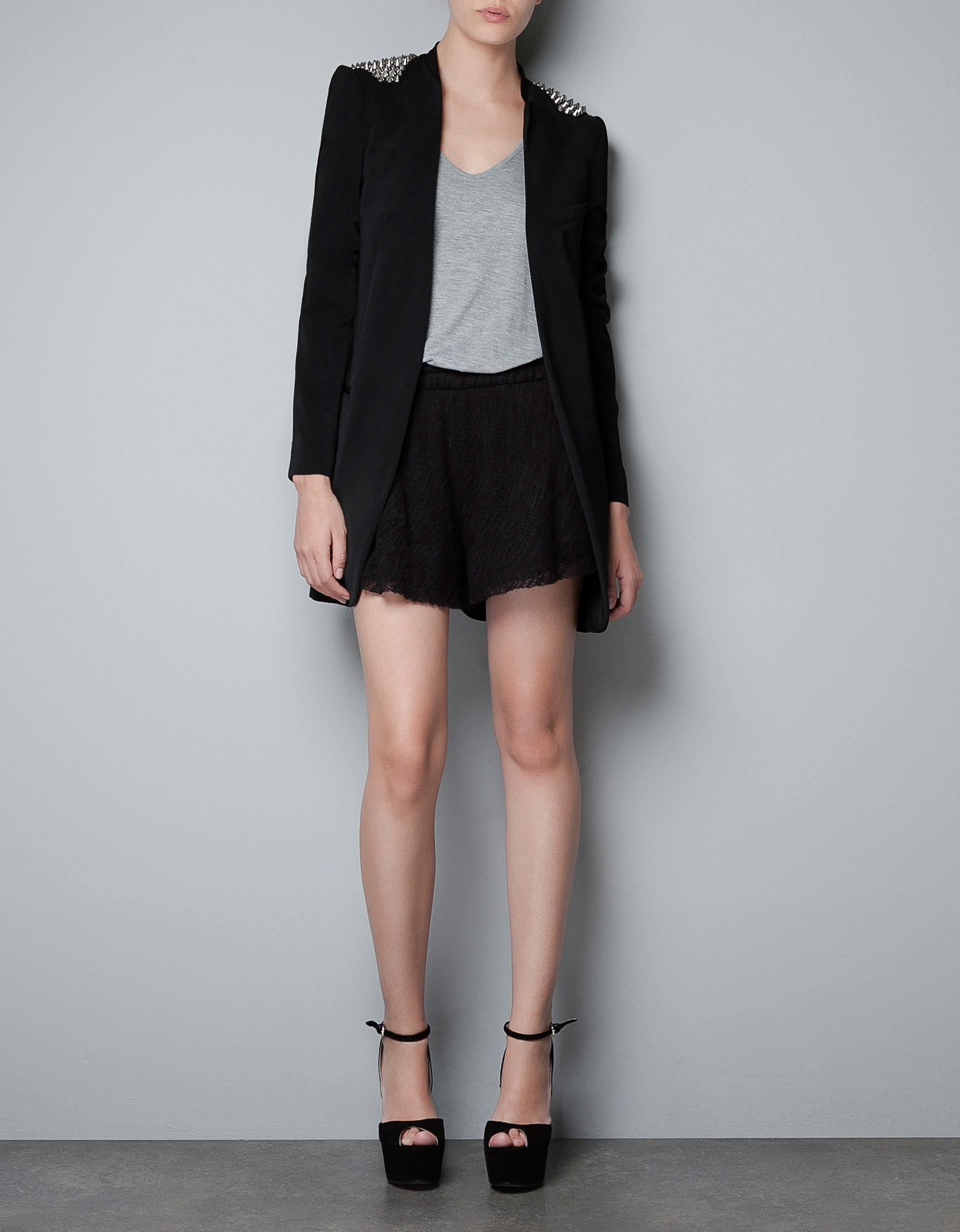 zara blazer with spikes on the shoulder in black lyst. Black Bedroom Furniture Sets. Home Design Ideas
