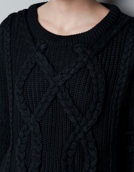 Zara Cable Knit Jumper In Black Lyst