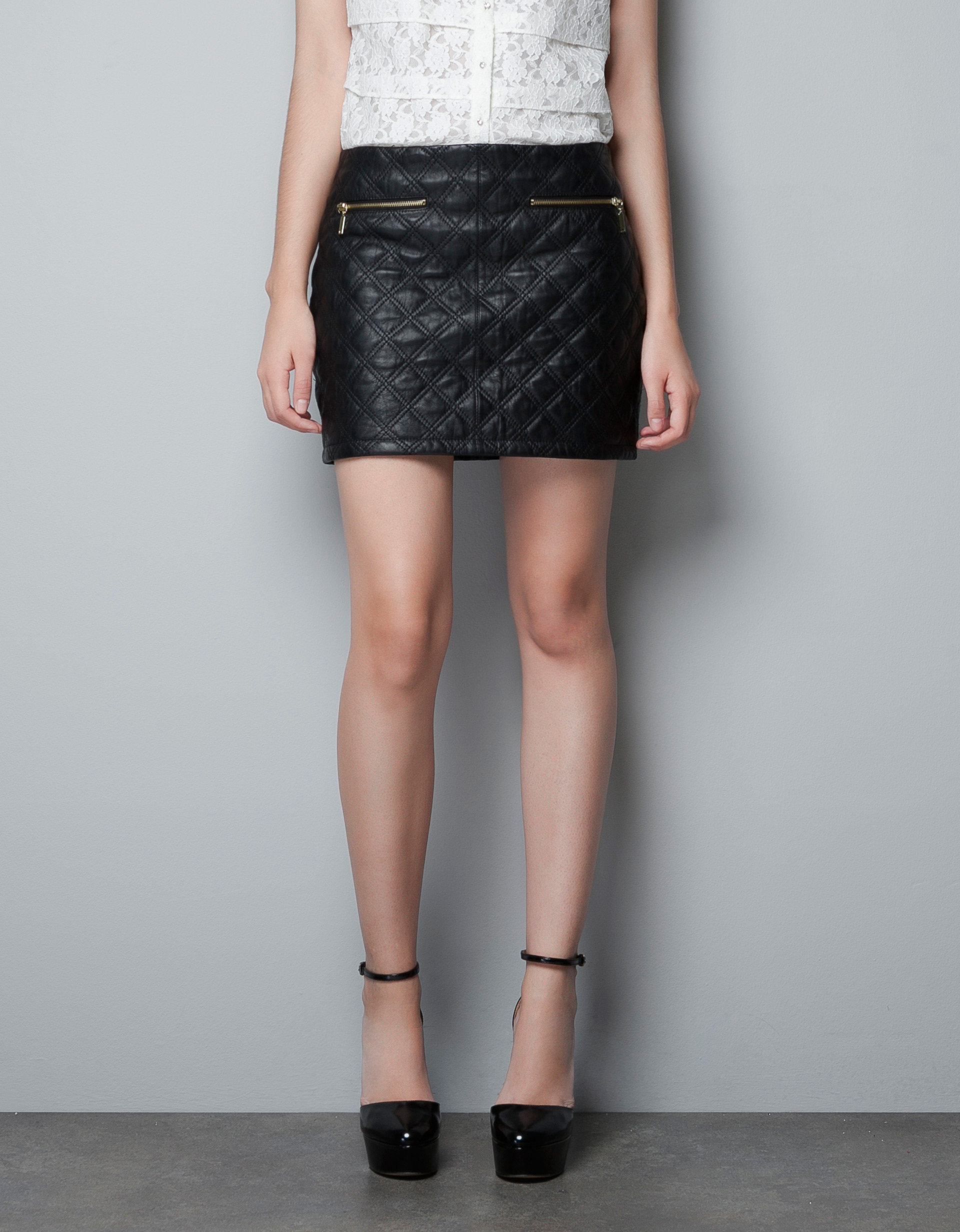 Zara Quilted Leather Skirt in Black | Lyst