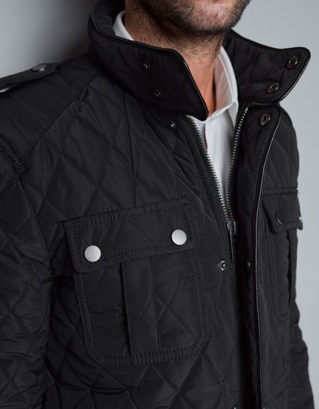 Zara Quilted Parka With Faux Leather Piping In Black For