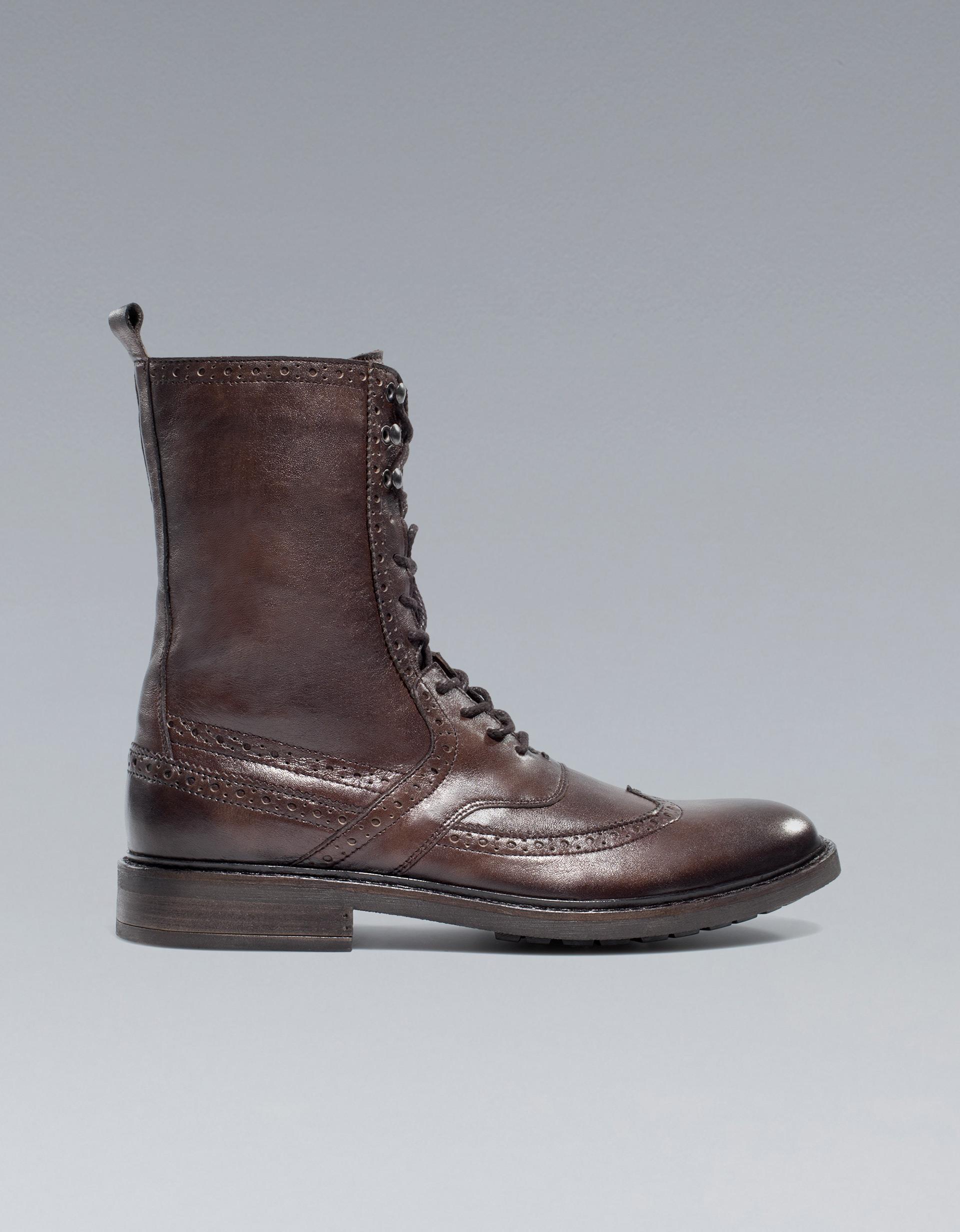 zara combat boot in brown for lyst