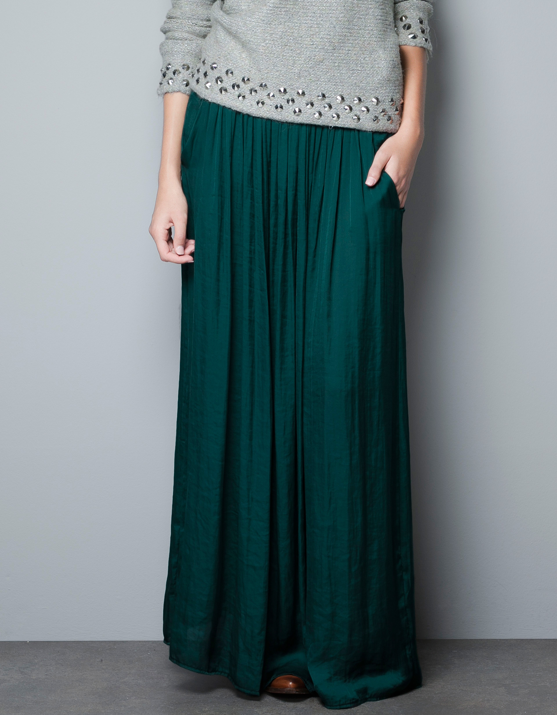 Zara Long Skirt with Pockets in Green | Lyst