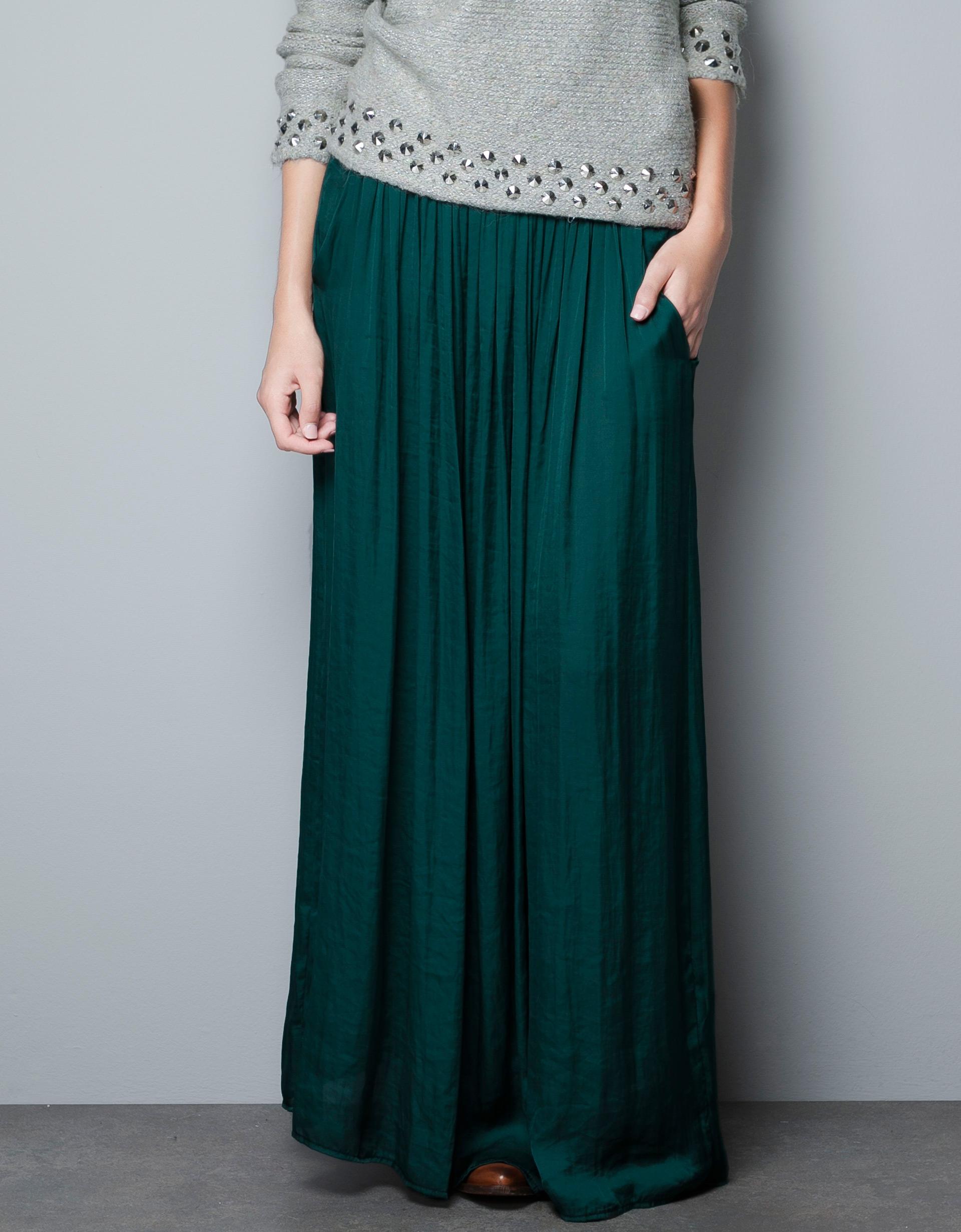 Green Long Skirt - Skirts