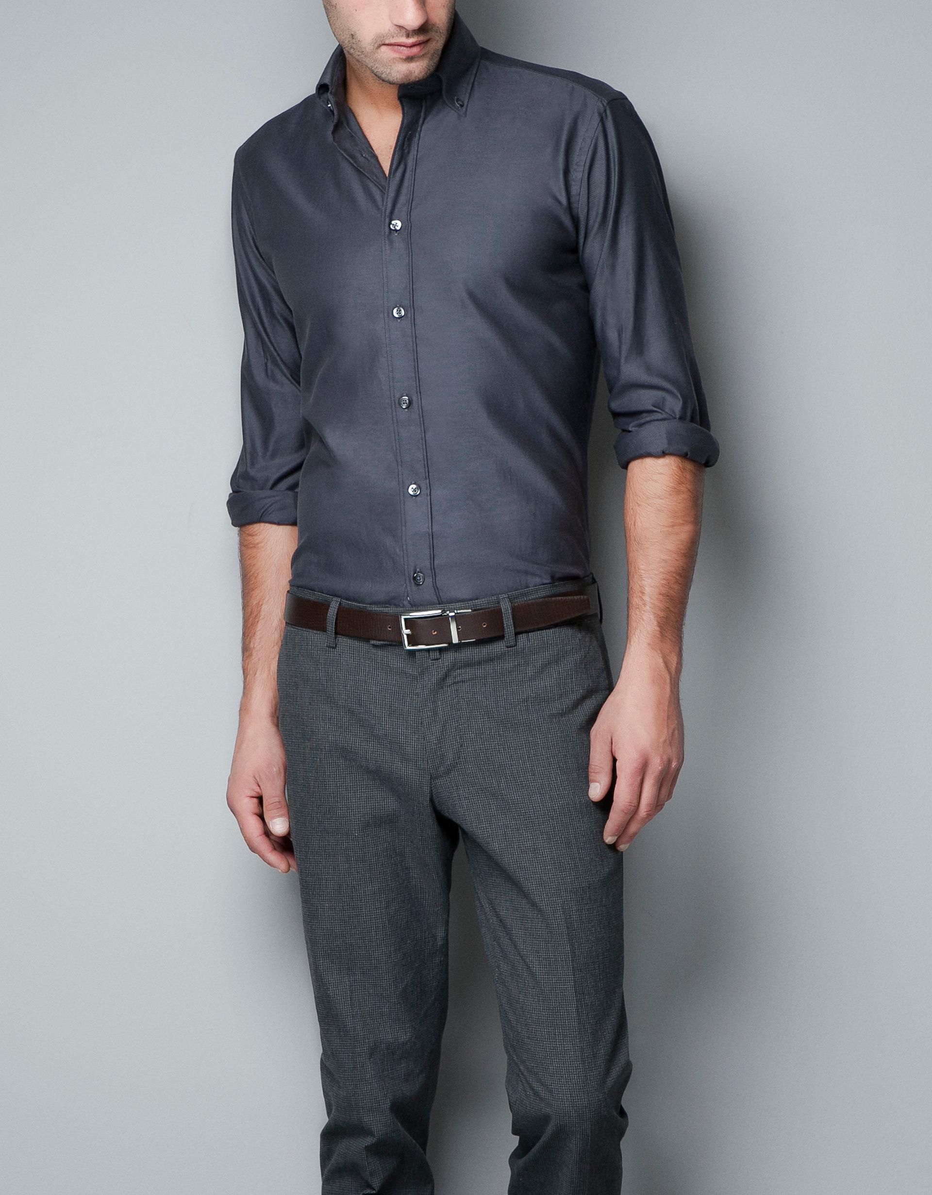 Zara Plain Oxford Shirt in Gray for Men | Lyst