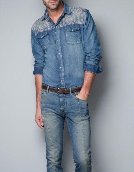 Zara ethnic style denim shirt in blue for men indigo lyst for Zara mens shirts sale