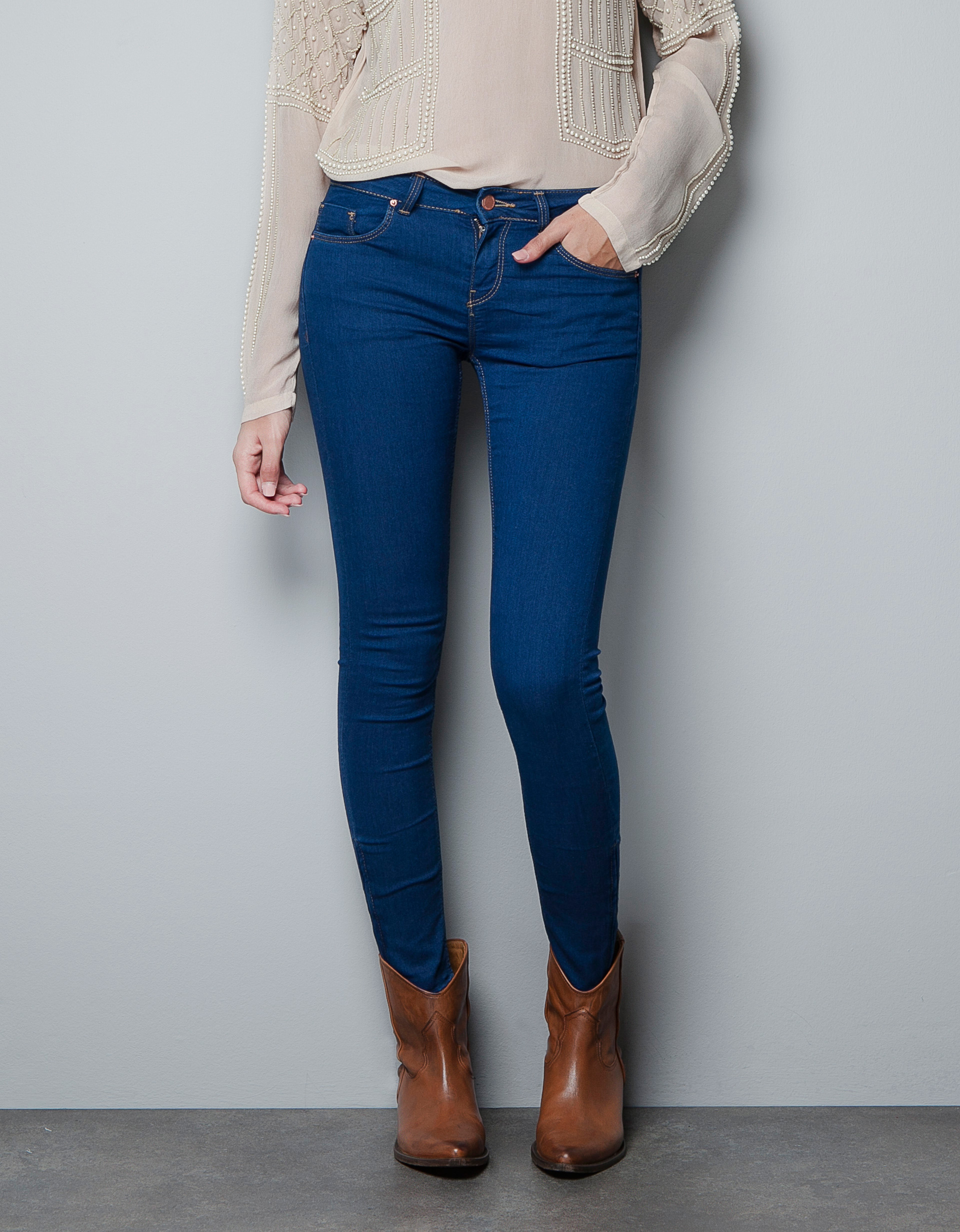 Zara Skinny Jeans with Zips At The Hem in Blue | Lyst