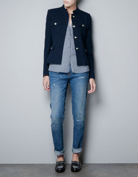 Zara Jacket With Metallic Buttons In Blue Navy Lyst