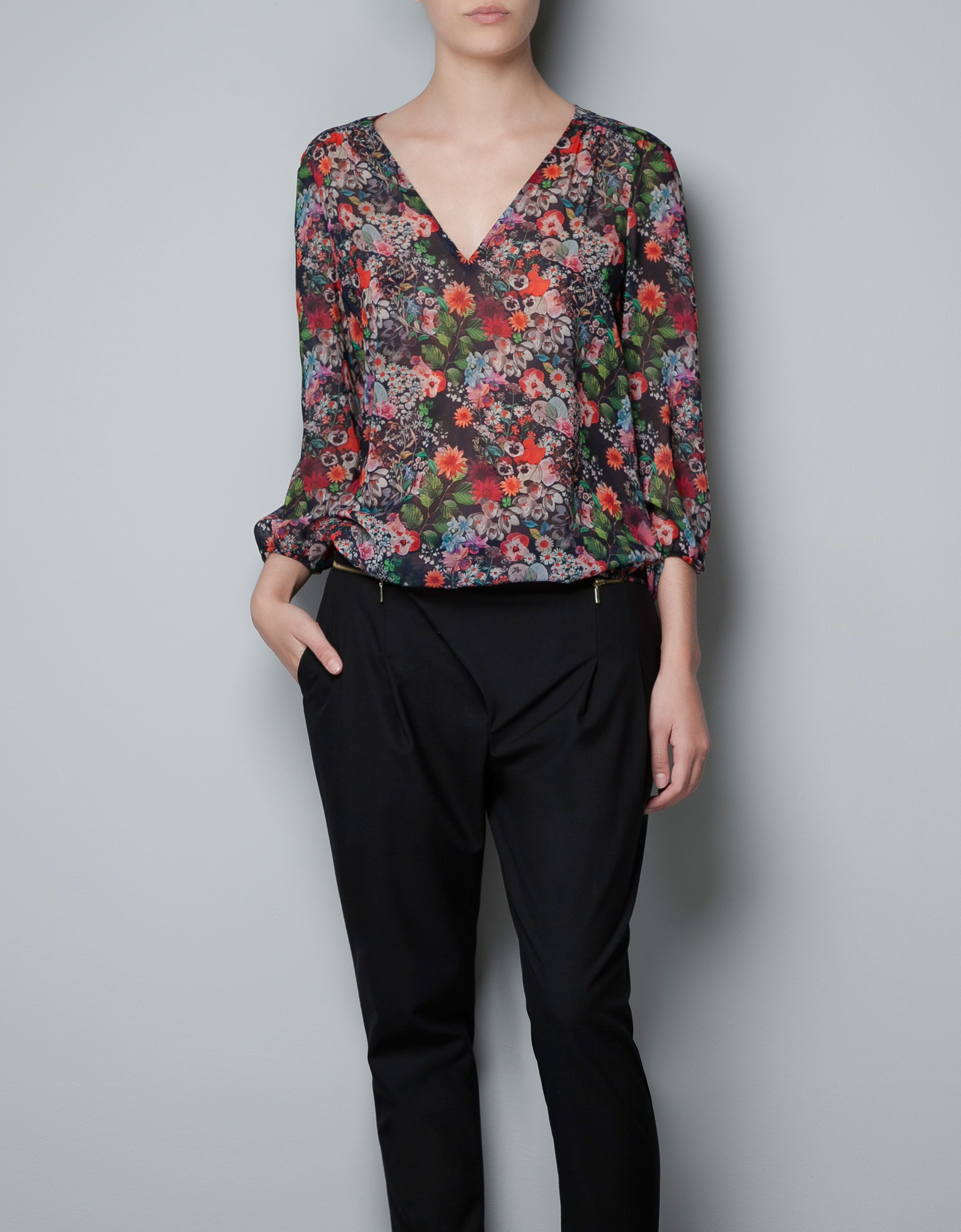 Zara Printed Blouse With Scarf 40