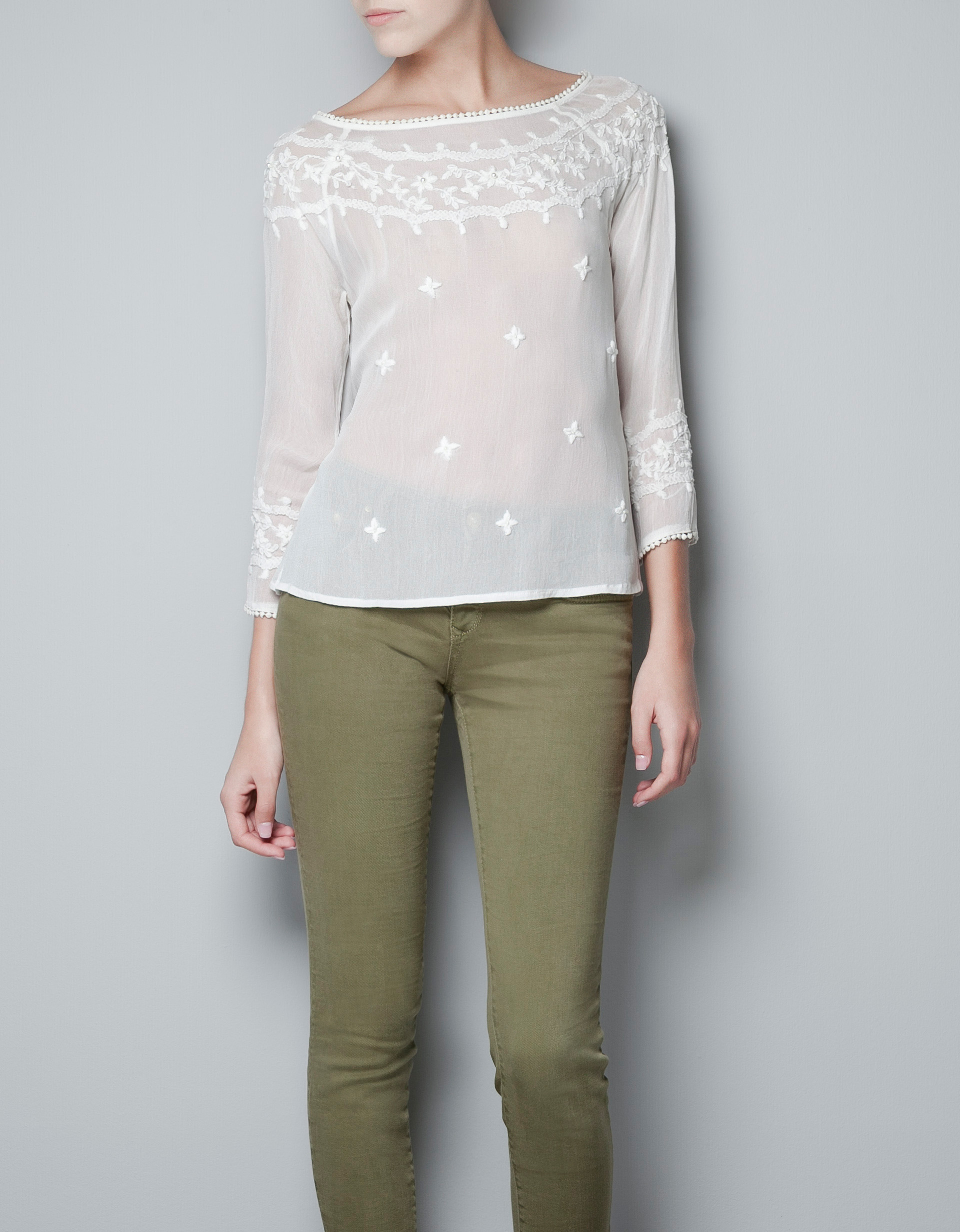 Zara Pearl Embroidered Blouse 12