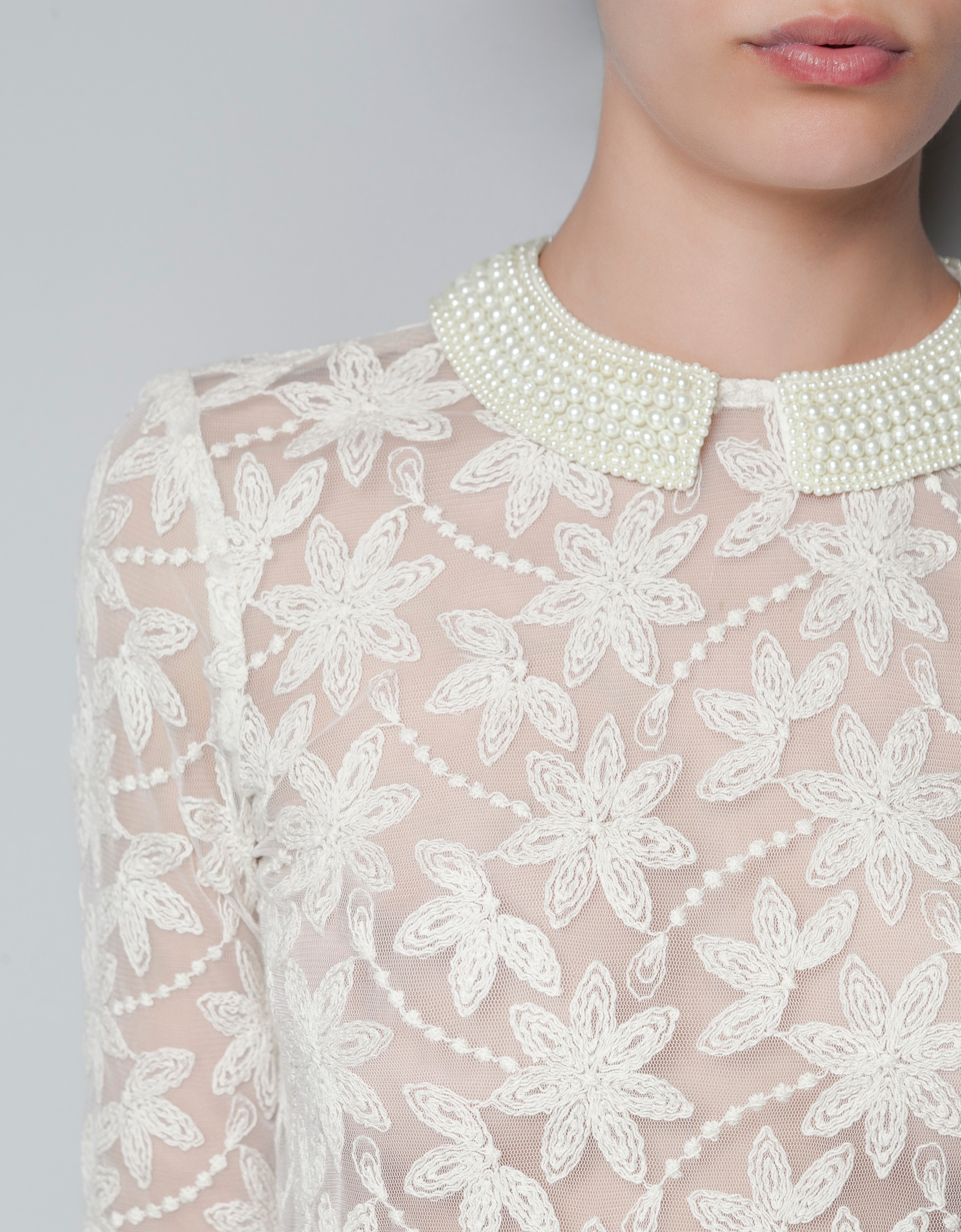 Zara Embroidered Tulle Blouse With Pearls Around Collar In