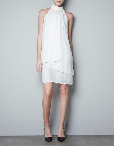 Zara Halter Collar Dress In White Off White Lyst