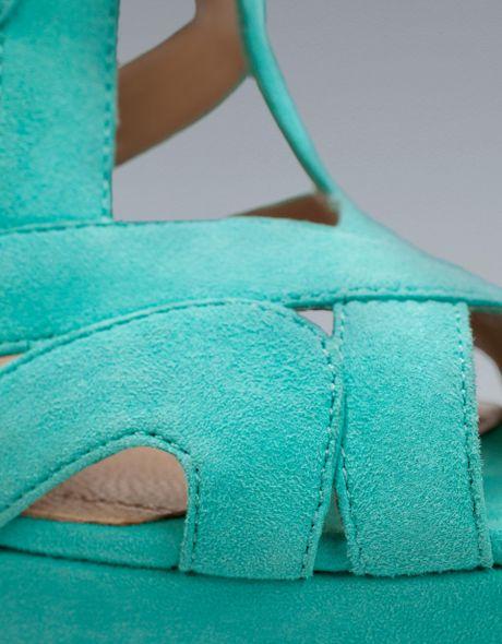 Zara Platform Heel Sandal In Blue Turquoise Lyst