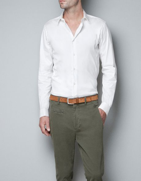 Zara shirt with cufflinks in white for men not available for Zara mens shirts sale