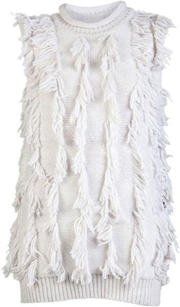 3.1 Phillip Lim Fringe Intarsia Tunic in White - Lyst