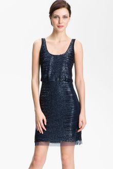 Adrianna Papell Beaded Mesh Cocktail Dress - Lyst