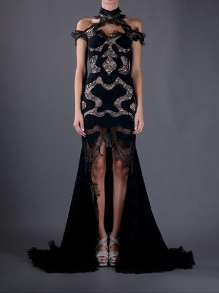 Alexander Mcqueen Lace Panel Evening Dress In Black Lyst