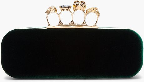Alexander Mcqueen Green Velvet Skull Knuckle Box Clutch in Green