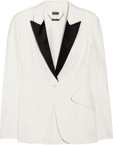 Alexander Mcqueen Crepe Tuxedo Blazer in White